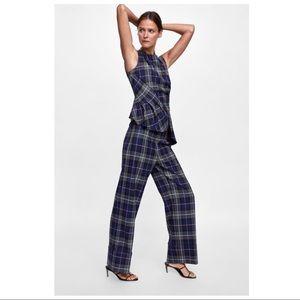 Zara Turned Up Hem Navy Orange Plaid Pants